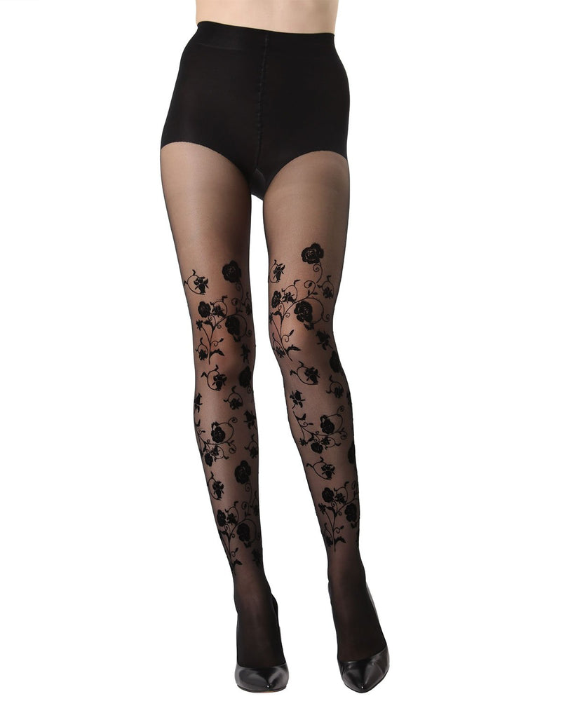 MeMoi Floral Springs Flocked Sheer Tights | Women's Fashion Hosiery - Pantyhose - Nylons Collection (Front) | Black MTS02235