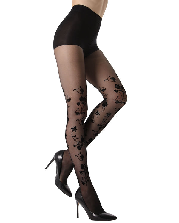MeMoi Floral Springs Flocked Sheer Tights | Women's Fashion Hosiery - Pantyhose - Nylons Collection (Side) | Black MTS02235