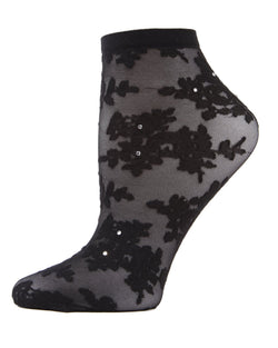 MeMoi Black Floral Rhinestone Shortie Sheer See-Through Socks | Women's Sheer See-Through Socks | Fashion High Heel Socks