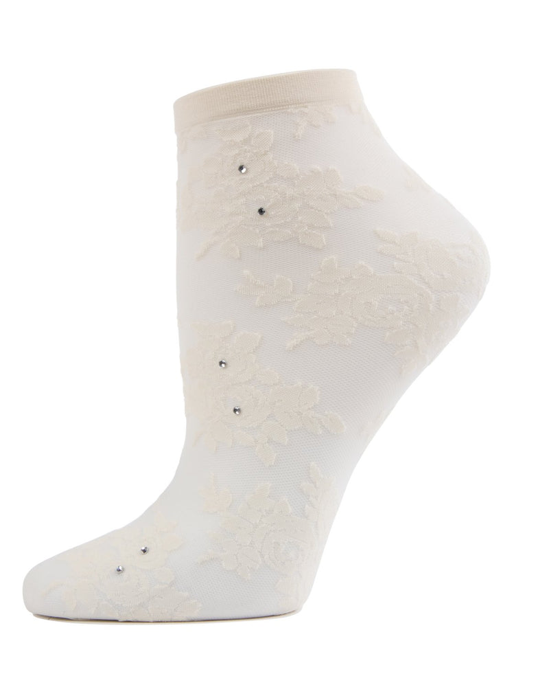MeMoi Winter White Floral Rhinestone Shortie Sheer See-Through Socks | Women's Sheer See-Through Socks | Fashion High Heel Socks
