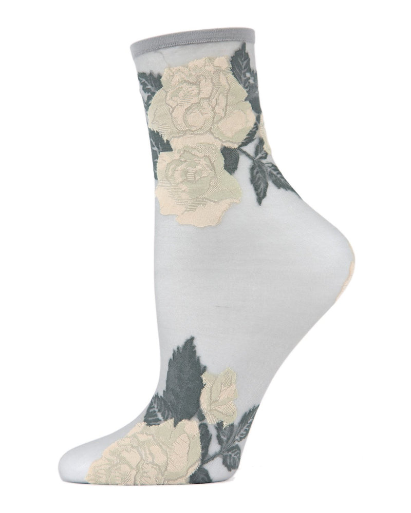 MeMoi Alloy Beauty Rose Garden Sheer See-Through Ankle Socks | Women's Sheer See-Through Ankle Socks | Fashion High Heel Socks | MWC-000093