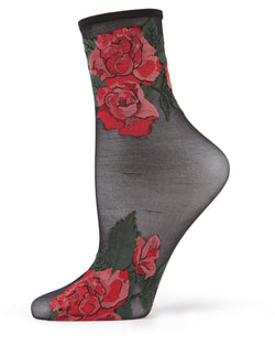 MeMoi Black Beauty Rose Garden Sheer See-Through Ankle Socks | Women's Sheer See-Through Ankle Socks | Fashion High Heel Socks | MWC-000093