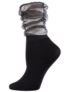 MeMoi Black Sheer Slouch Women Crew Socks | Women's Sheer See-Through Socks | Fashion High Heel Socks