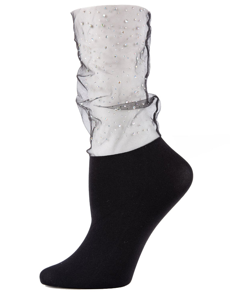 MeMoi Black Glitz and Glam Rhinestone Sheer See-Through Slouch Crew Socks | Women's Sheer See-Through Socks | Fashion High Heel Socks