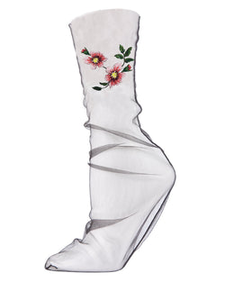 MeMoi Floral Sheer Tulle Embroidered Slouch Socks