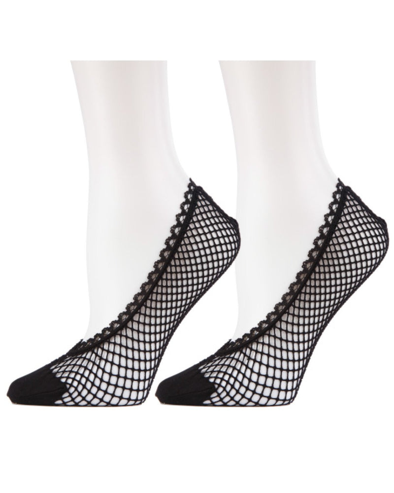 MeMoi Knit Net Fishnet Sock Liners 2 Pak | Women's no-show Liner Ankle socks | 92% nylon, 8% spandex | Black/Black MWF-050