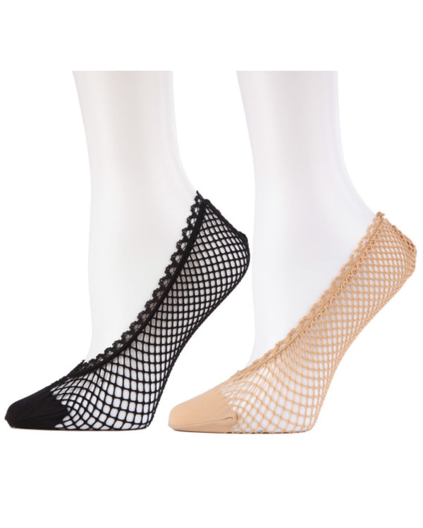 MeMoi Knit Net Fishnet Sock Liners 2 Pak | Women's no-show Liner Ankle socks | 92% nylon, 8% spandex | Black/Nude MWF-050