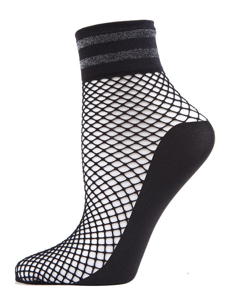 MeMoi Metallic Stripe Fishnet Ankle Socks | Women's Anklet & Shorties Fashion Socks | Black MWF-000052