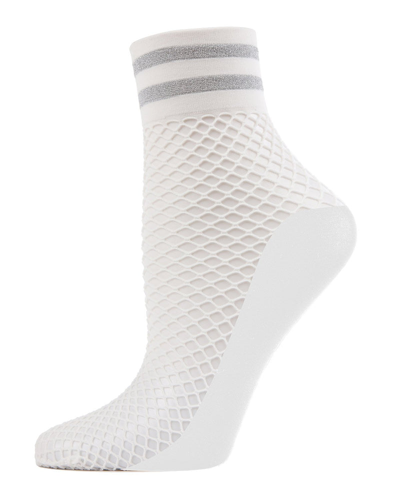 MeMoi Metallic Stripe Fishnet Ankle Socks | Women's Anklet & Shorties Fashion Socks | White MWF-000052