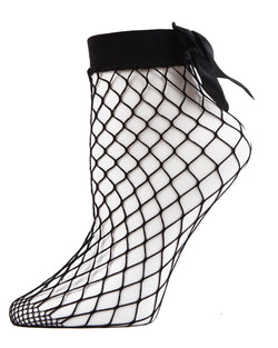 MeMoi Bow Maxi Fishnet Anklets | Women's Anklet & Shorties Fashion Socks | Black MWF-000055