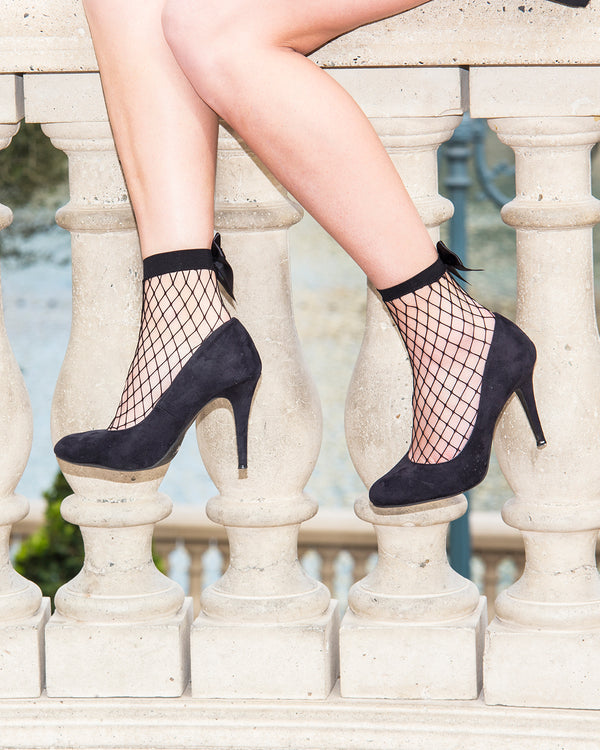 Bow Maxi Fishnet Anklets | Women's Anklet & Shorties Fashion Socks by MeMoi  | Black MWF-000055