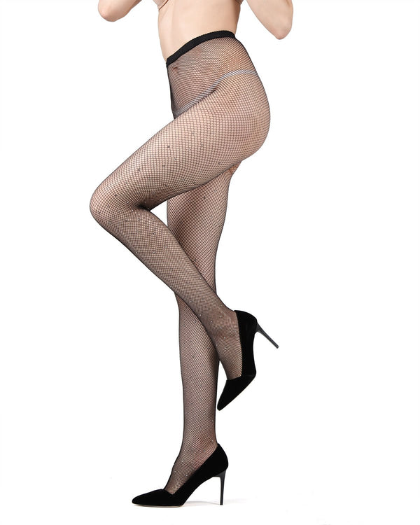 MeMoi Rhinestone Mini-Net Fishnet Tights | Women's Premium Pantyhose - Hosiery - Nylons  Black MWF 000057