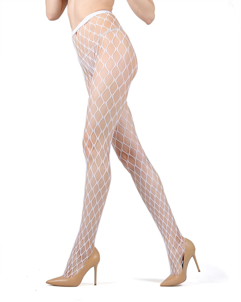 MeMoi | White Maxi Fishnet Tights | MeMoi Women's Premium Tights - Pantyhose - Nylons