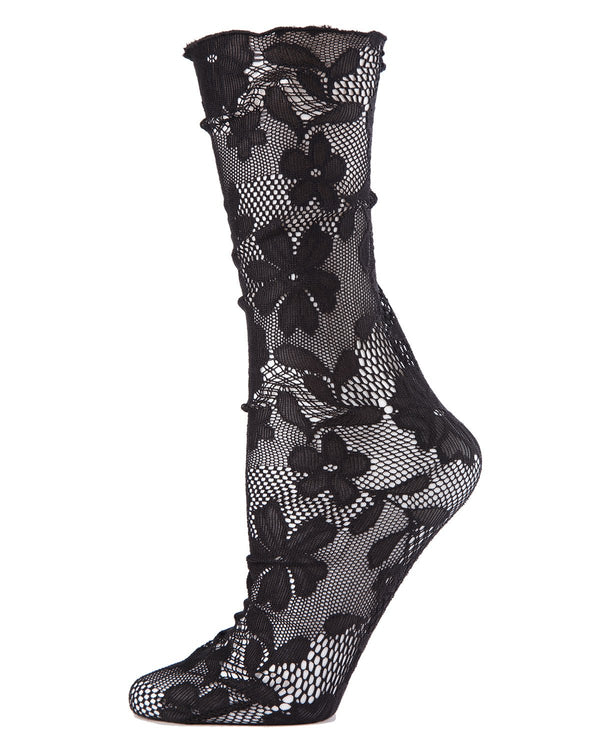 MeMoi Allure Lace Floral Slouch Crew Socks | Women's Net Fashion Socks -MWF-000066 BLACK-