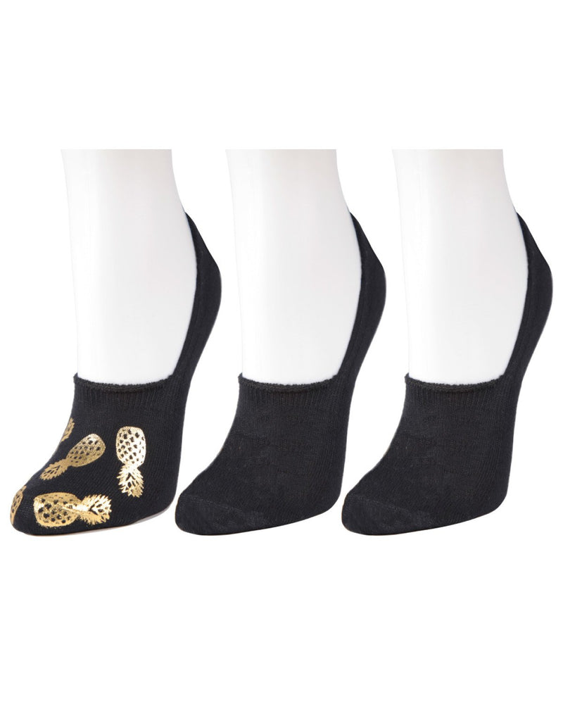 Golden Pineapples No-show Sock Liners 3 Pack by MeMoi | no show socks for women | shoe liner socks | MWF-000068-BGD-O/S
