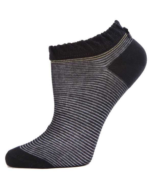 MeMoi Black Striped Semi-sheer Low Cut No Show Socks (side view) | Women's Low Cut Socks | Calcetines cortos sin costuras de corte bajo y semi-escarpados | #SockGame