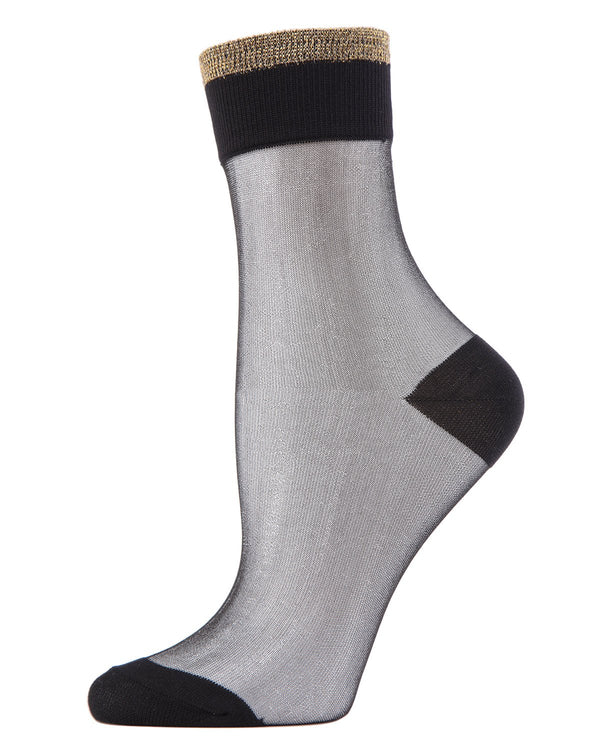 MeMoi Black/Gold Metallic-tipped Sheer Ankle Crew Socks | Women's Sheer See-Through Socks | Fashion High Heel Socks