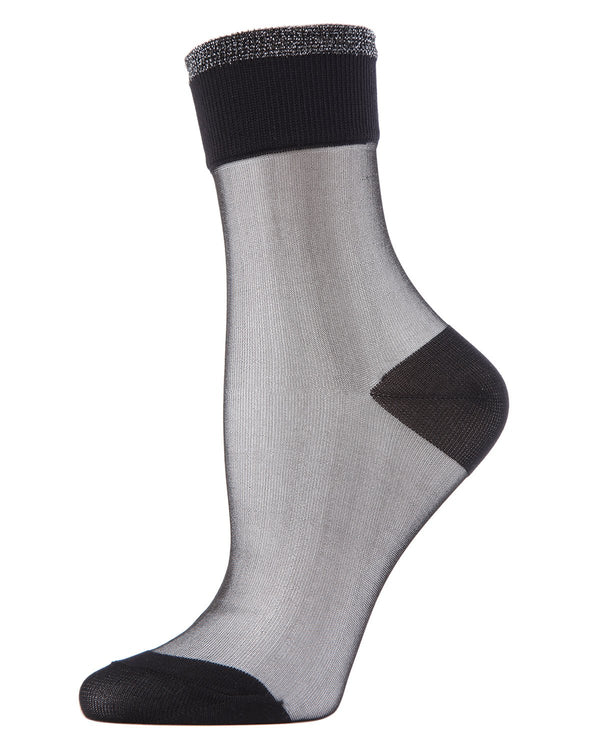 MeMoi Black/Silver Metallic-tipped Sheer Ankle Crew Socks | Women's Sheer See-Through Socks | Fashion High Heel Socks