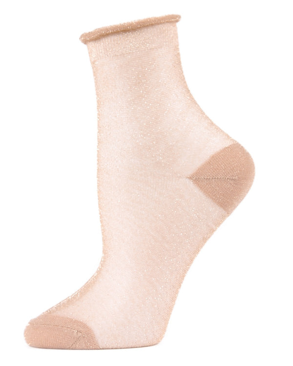 MeMoi Rose Gold Shimmery Shortie Sheer Socks | Women's Sheer See-Through Socks | Fashion High Heel Socks