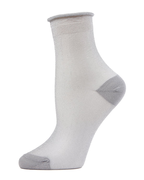 MeMoi Silver Shimmery Shortie Sheer Socks | Women's Sheer See-Through Socks | Fashion High Heel Socks