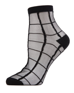 MeMoi Black Cheery Checker Sheer See-Through Ankle Socks | Women's Sheer See-Through Socks | Fashion High Heel Socks