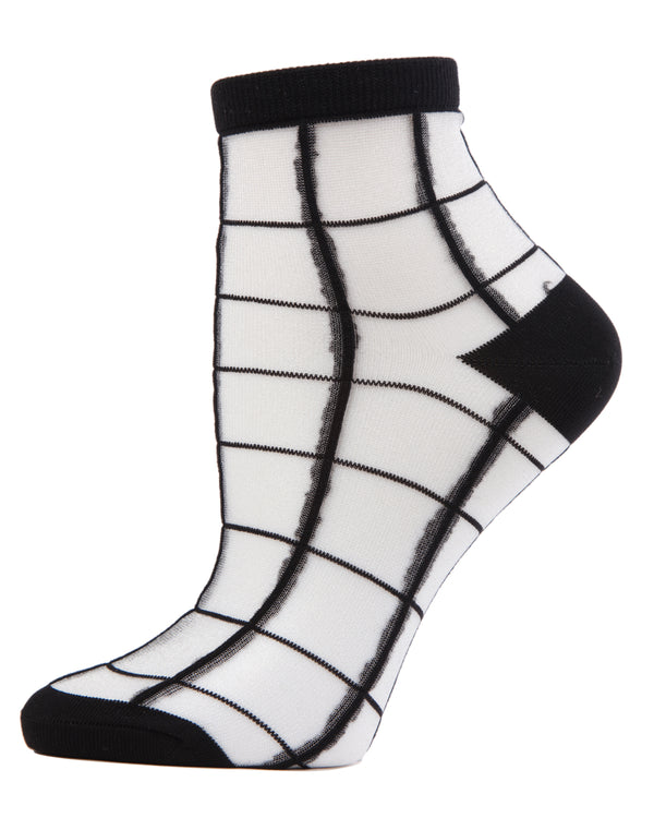 Cheery Checker Sheer See-Through Ankle Socks