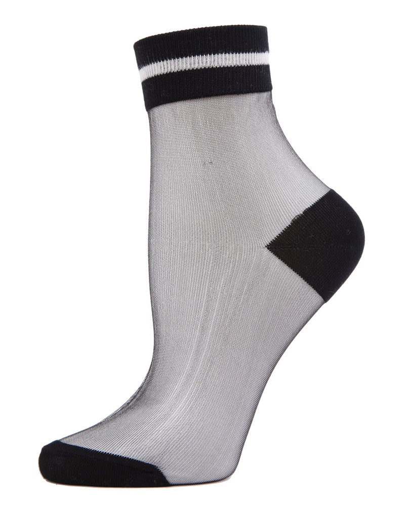 MeMoi Sheer See-Through Ankle Socks with Striped Cuff | Women's Fashion Socks |  Black MWF-000075