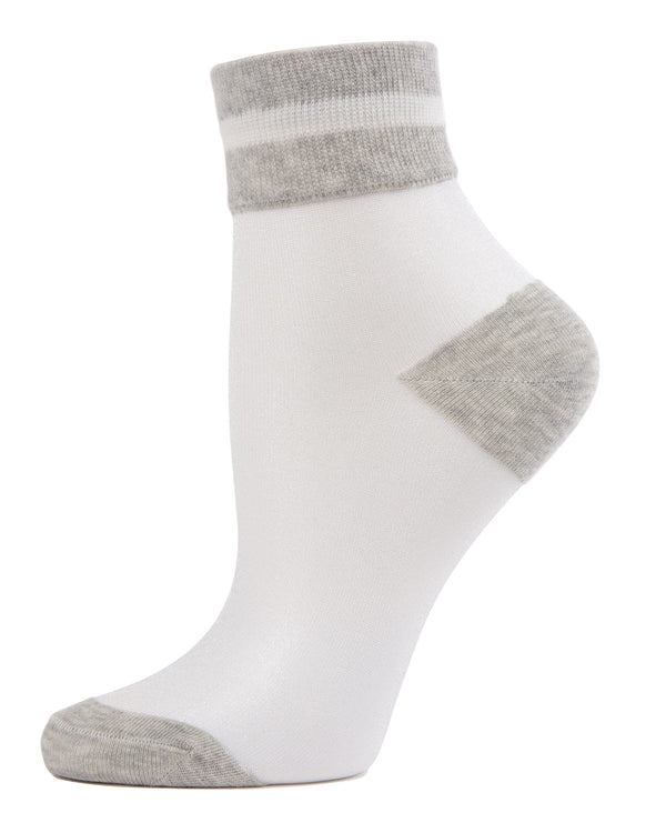 MeMoi Medium Grey Sheer See-Through Ankle Socks with Striped Cuff | Women's Sheer See-Through Socks | Fashion High Heel Socks