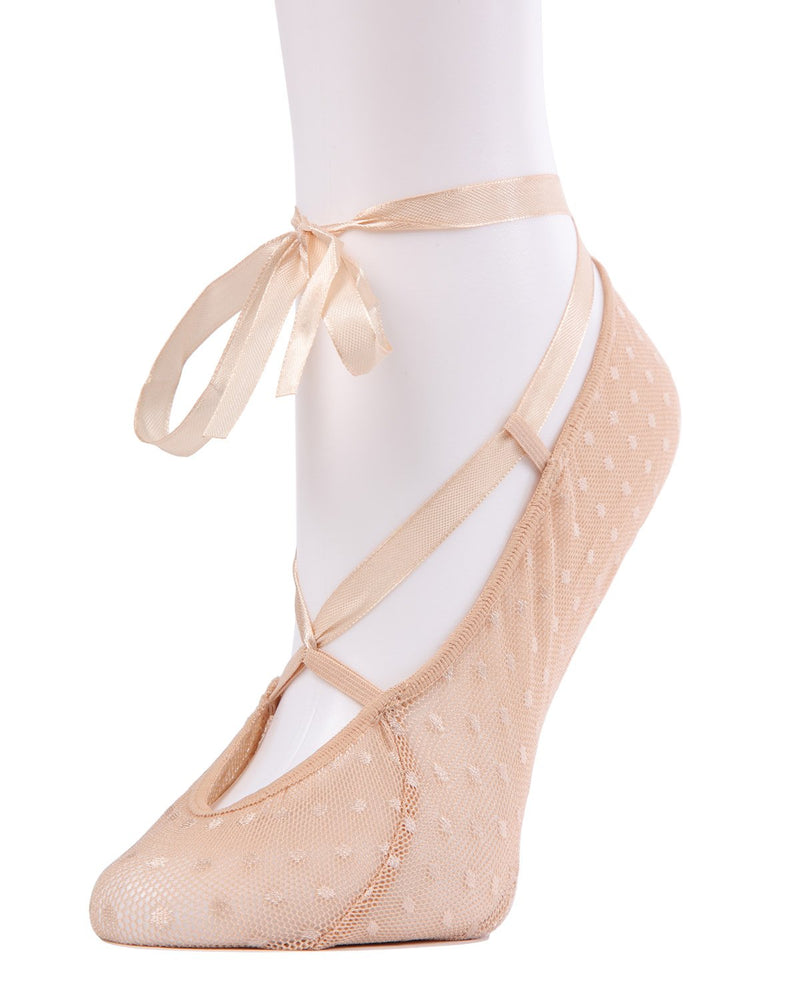 MeMoi Ballerina Fashion Lace Liner Socks | Women's no-show Shoe Liners | womens clothing | Nude MWF-077