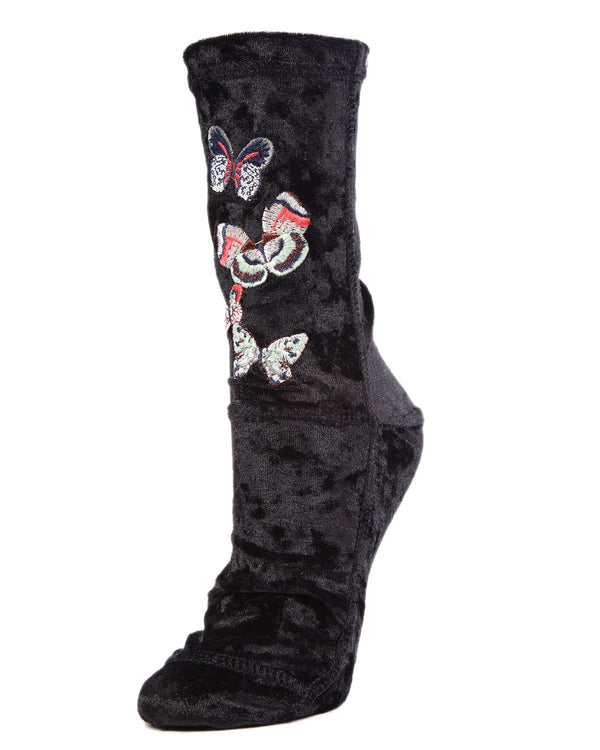 MeMoi Butterfly-embroidered Crushed Velvet Socks | Women's Plush Winter Fashion Socks | Calcetines calientes para el invierno | Warm Winter House Socks -MWF-000082 BLACK-