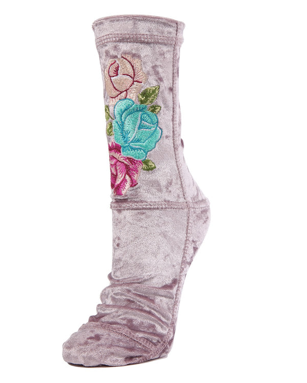 MeMoi Butterfly-embroidered Crushed Velvet Socks | Women's Plush Winter Fashion Socks | Calcetines calientes para el invierno | Warm Winter House Socks -MWF-000083 LAVENDER-