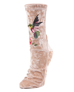 MeMoi Hummingbird Crushed Velvet Socks | MeMoi Women's Plush Winter Sock Collection | Warm Socks for Winter |  Calcetines calientes para el invierno-MWF-000084 CREAM-