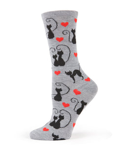 Curly Q Cats Bamboo Novelty Crew Socks | Fun Novelty Socks by MeMoi® | Valentines' Day Socks | Med Gray Heather MWN00143