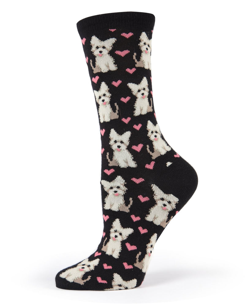 MeMoi Puppy Love Bamboo Crew Socks | Women's Valentine's Day Novelty Socks | West Highland White Terrier / Yorkshire Terrier | Black MWN00147