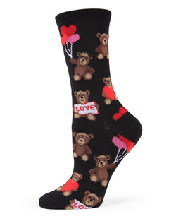 MeMoi Teddy Bear Bamboo Crew Socks | Women's Valentine's Day Novelty Socks | 75% rayon from bamboo, 23% polyester, 2% spandex | Black MWN00148