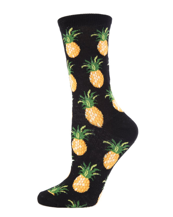 MeMoi Women's Pineapple Upside-down Bamboo Crew Novelty Socks (Black) | Women's Fun Novelty Socks | Socks for Pineapple lovers