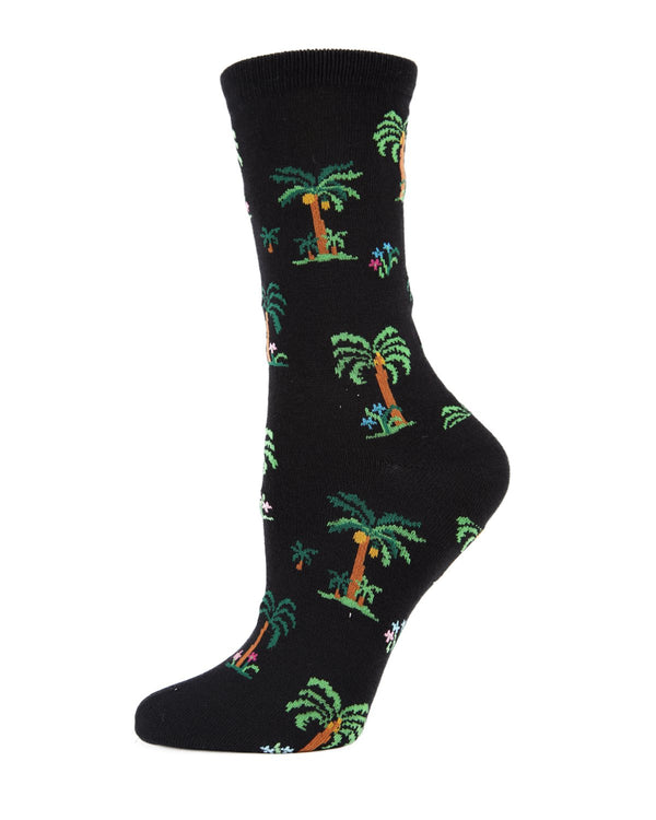 Island Palms Trees Crew Socks | MeMoi Womens Novelty Sock Collection | #SockGame fun socks for women | Black MWN00123