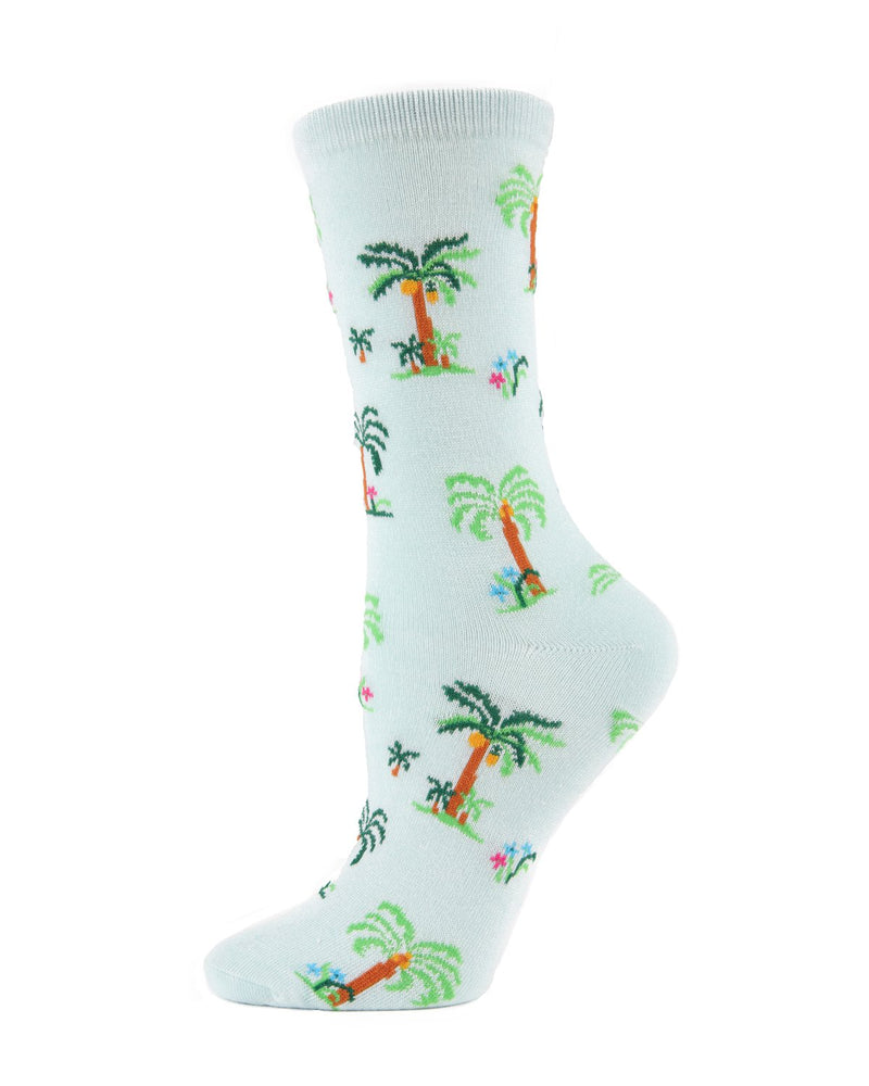 Island Palms Trees Crew Socks | MeMoi Womens Novelty Sock Collection | #SockGame fun socks for women | Mint MWN00123