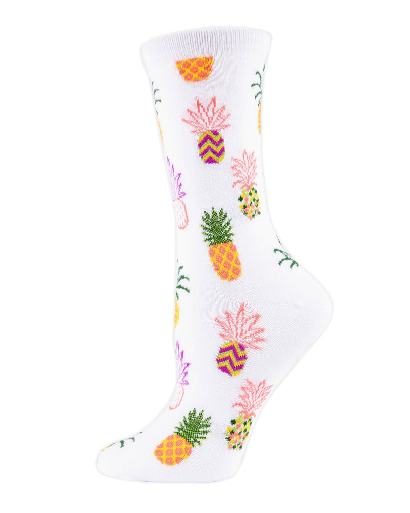 MeMoi Women's White Pineapples Bamboo Crew Novelty Socks | Women's Fun Novelty Socks | Socks for Pineapple lovers