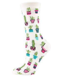 MeMoi Potted Cacti Bamboo Crew Novelty Socks | Women's Fun Novelty Socks -MWN-00128 IVORY-