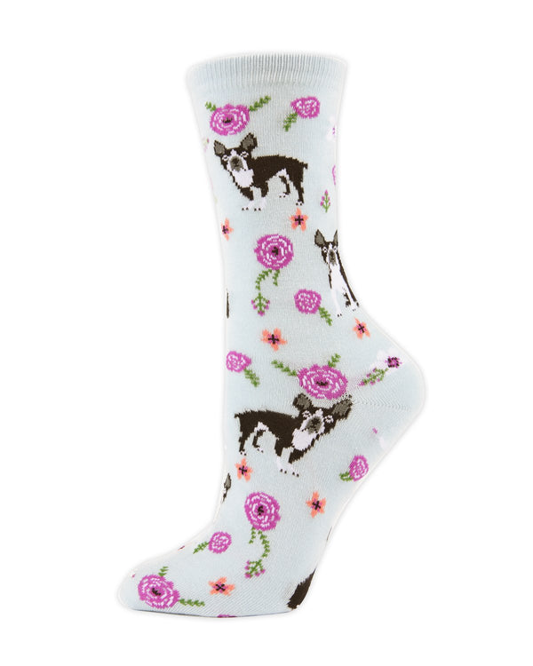 MeMoi Winter Sky French Bulldog and Roses Bamboo Crew Novelty Socks | Women's Fun Novelty Socks | Socks for French Bulldog lovers