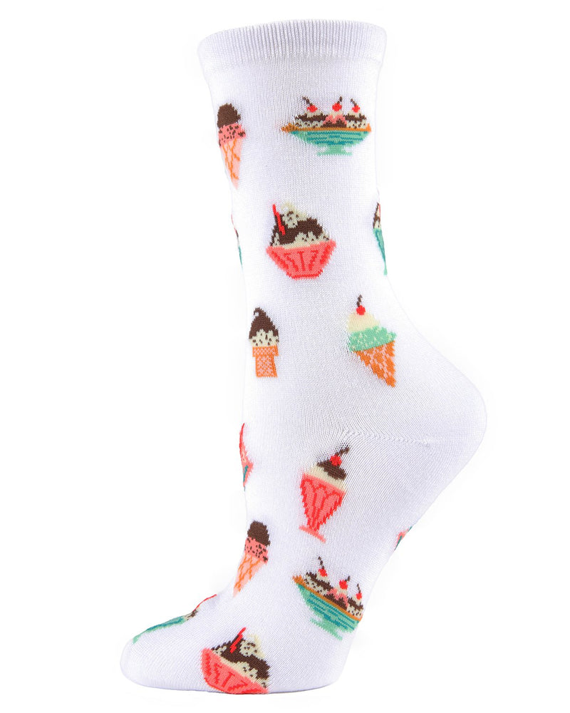 MeMoi Ice Cream Sundae Bamboo Crew Socks | Women's Fun Novelty Socks -00131 WHITE-