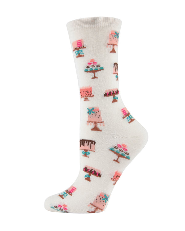 MeMoi Sweet Treats Cake Socks Crew Socks (Ivory) | Women's Fun Novelty Socks | Cake / Cupcake Socks for Women