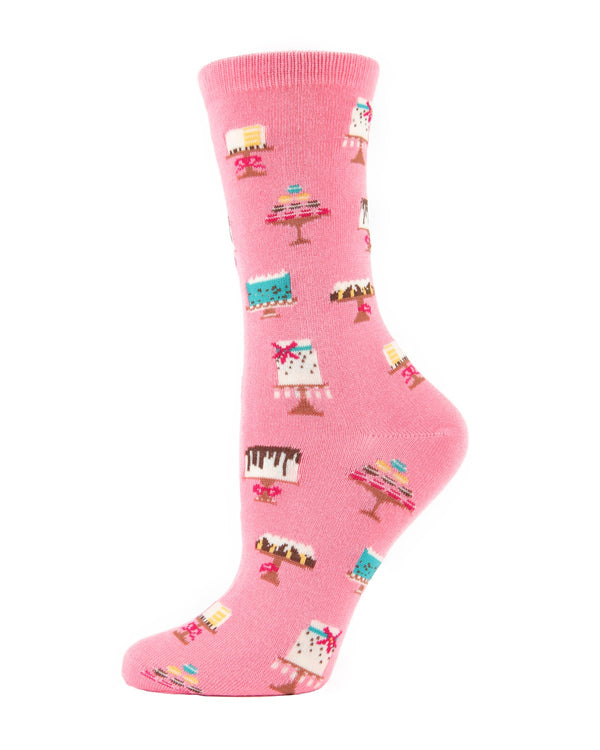 MeMoi Sweet Treats Cake Socks Crew Socks (Pink) | Women's Fun Novelty Socks | Cake / Cupcake Socks for Women
