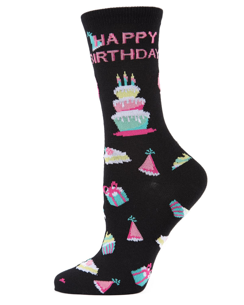 MeMoi Black Happy Birthday Bamboo Crew Novelty Socks | Women's Fun Novelty Socks | Birthday Socks for Women