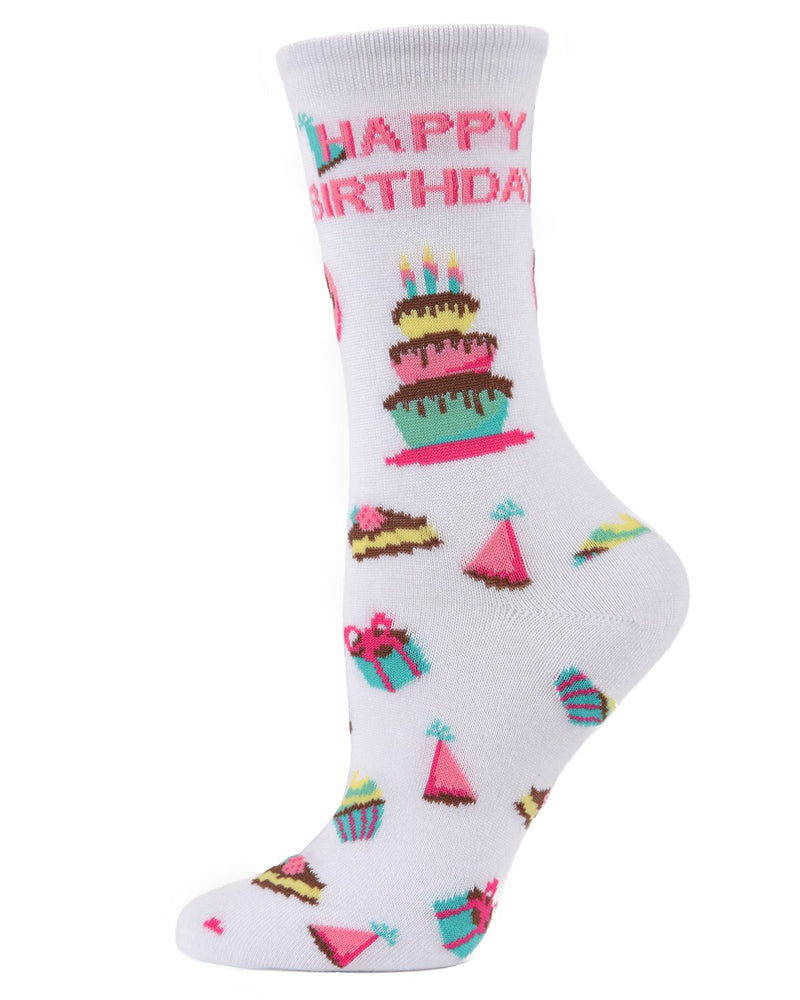 MeMoi White Happy Birthday Bamboo Crew Novelty Socks | Women's Fun Novelty Socks | Birthday Socks for Women
