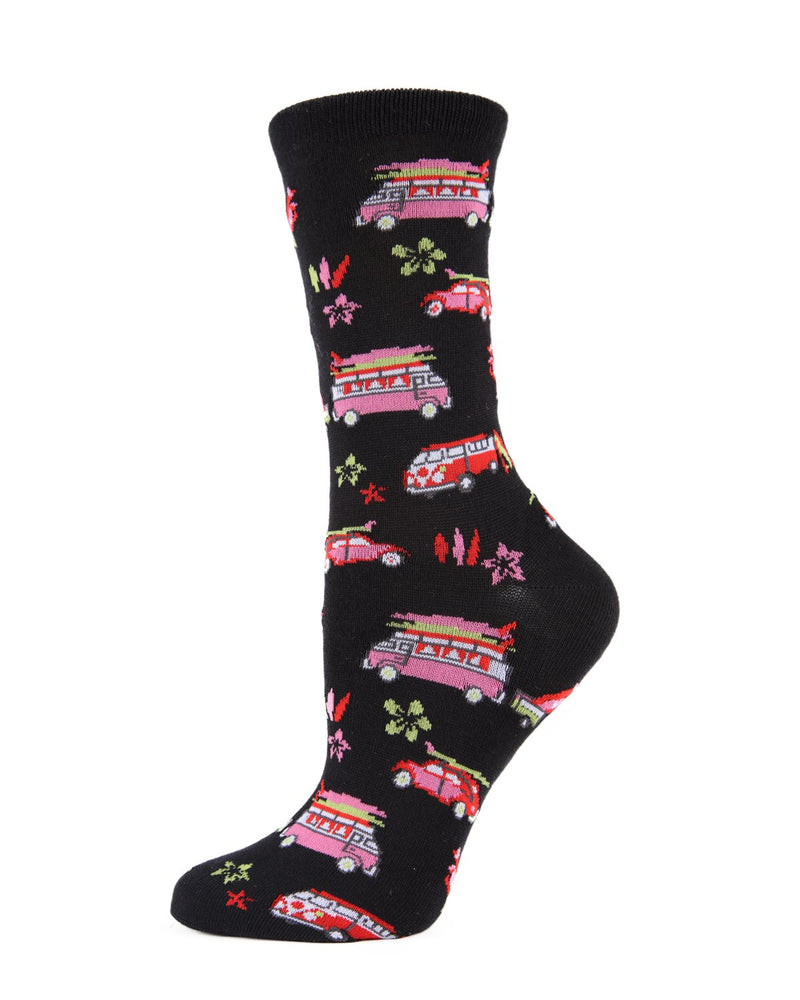 MeMoi Surfs Up Bamboo Crew Socks | Women's Fun Novelty Socks | 60s Volkswagen bug & Volkswagen bus -MWN-00134 BLACK-