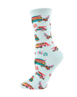 MeMoi Surfs Up Bamboo Crew Socks | Women's Fun Novelty Socks | 60s Volkswagen bug & Volkswagen bus -MWN-00134 PALE AQUA-