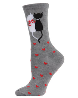 Purr-fectly In Love Bamboo Novelty Crew Socks | Fun Novelty Socks by MeMoi® | Valentines' Day Socks | Med Gray Heather MWN00142
