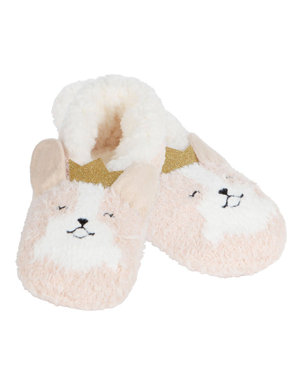 Corgi Critter Plush Lined Slippers | Slippers By MeMoi®  | MZV05558 | Tan